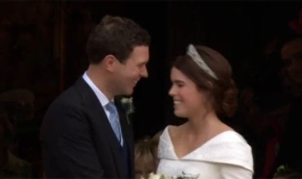 Royal Wedding Princess Eugenie smiled at her groom after the kiss Image ITV