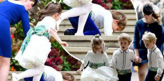 Royal Wedding the pageboy took a tumble in the gusty winds Image PA