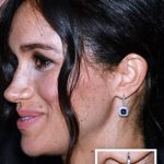 SAPPHIRES Drop studs by Canadian jeweller Birks thought to be the most expensive Meghan has worn and valued at £13 082 left TRIO Three Stone necklace by Pippa Small worth around £1 500 right
