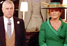 Sarah Ferguson and Prince Andrew sat next to each other at Princess Eugenies Royal Wedding Image ITV