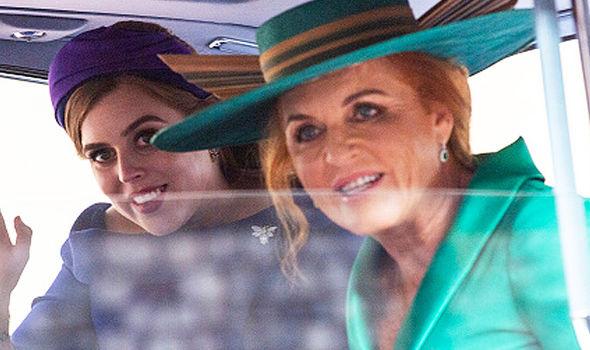 Sarah Ferguson and Princess Beatrice arrive at Princess Eugenies Royal Wedding Image GETTY