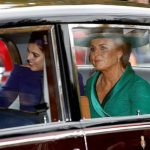 Sarah Ferguson looked nervous and excited as she arrived at the chapel for Princess Eugenies weddin Image REUTERS
