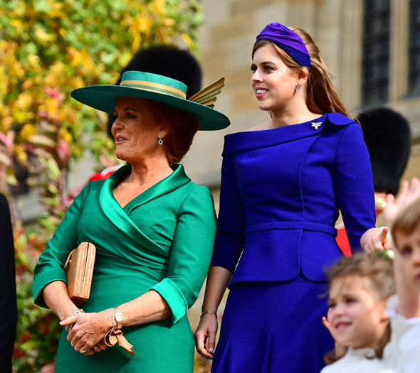 Sarah Ferguson looks emotional as Princess Eugenie and Jack Brooksbank leave church Image GETTY