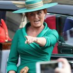 Sarah Ferguson points to the crowd Image PA