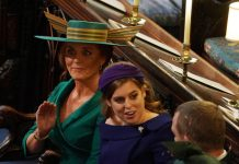 Sarah Ferguson waves in St Georges Chapel Image GETTY