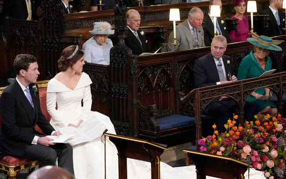 Sarah and Andrew looked on proudly during the wedding Image GETTY