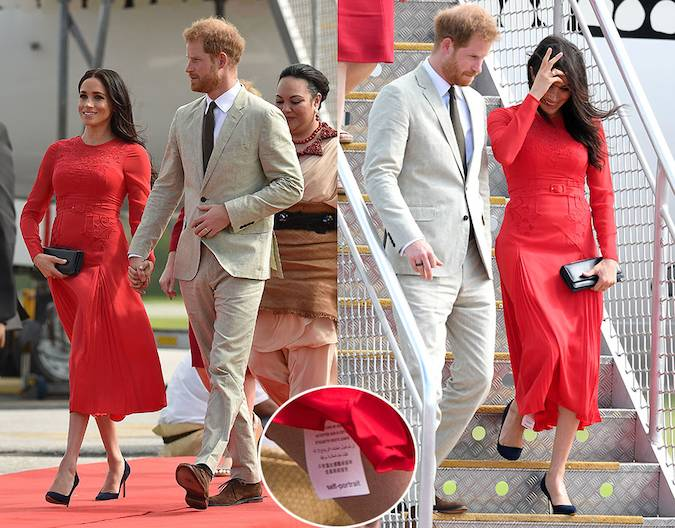 She showed off her sartorial prowess throughout the tour but Meghan also proved she is just like us when she accidentally left the tag on her Self Portrait dress Photo C GETTY