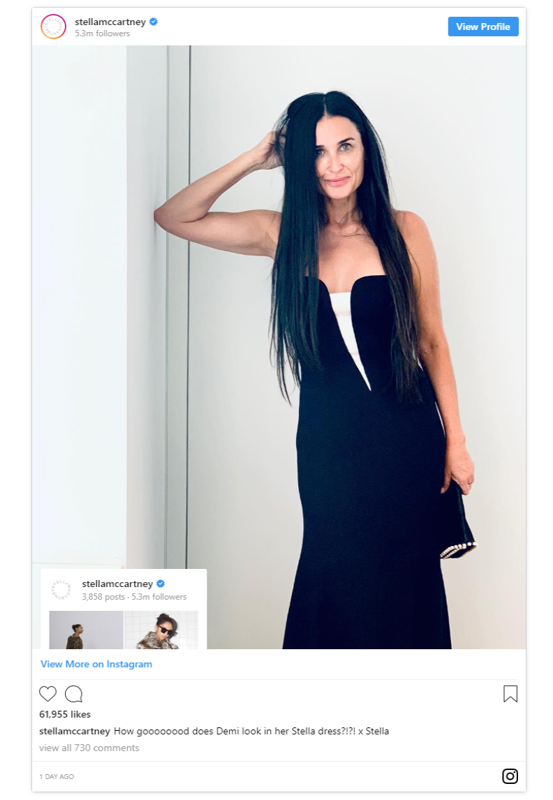 Stella McCartneys official Instagram shared a shot of actress Demi Moore changing into another stunning dress for the evening party Photo C INSTAGRAM