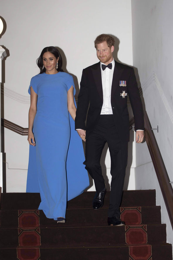 The Duchess completed the look with a dazzling pair of diamond earrings Image GETTY