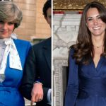 The Duchess looks identical to Diana when they both announce their engagements Image GETTY