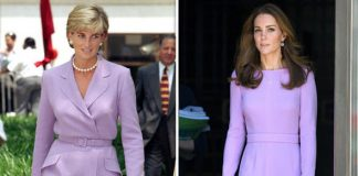 The Duchess of Cambridge has today followed in Diana's footsteps stepping out in a lilac dress Image GETTY