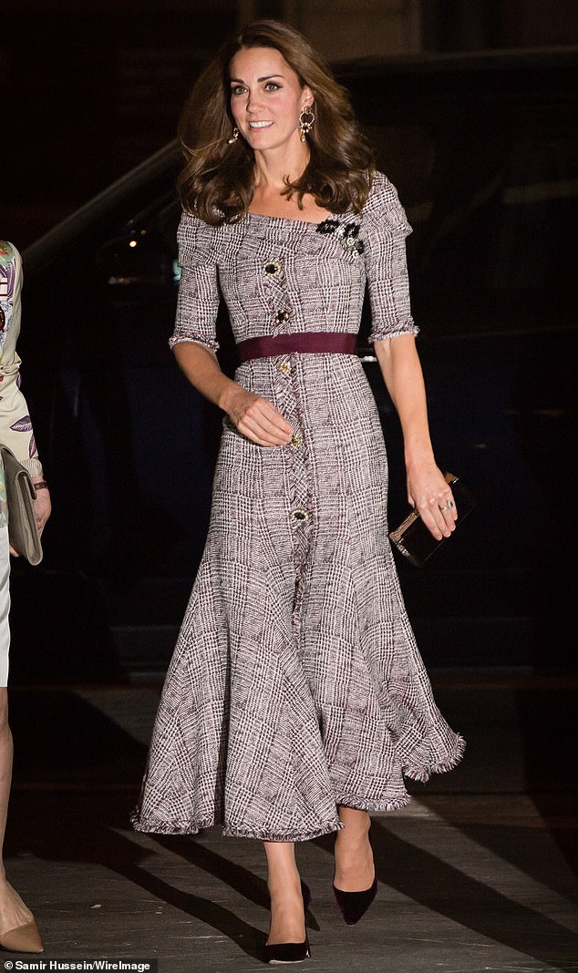 The Duchess of Cambridge pictured wearing Erdem at the VA earlier this month is still the most powerful royal fashion influencer a new report has found