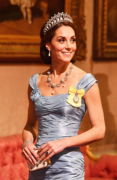 The Duchess of Cambridge wore the Royal Family Order for the second time Its first outing was at the Diplomatic Corps reception in December Photo C PA