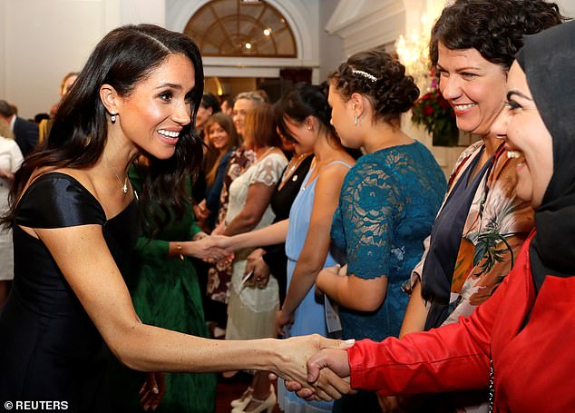 Meghan speaks to invited guests during a reception at Government House in Wellington House New Zealand
