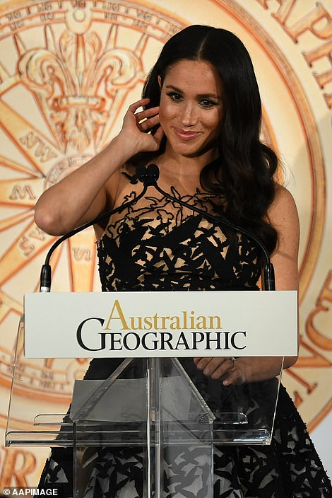 The Duchess of Sussex looked glamorous as she attended the 2018 Australian Geographic Society gala awards today
