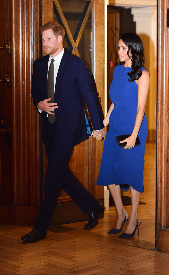The Duchess of Sussex sparked pregnancy rumours last month at the 100 Days to Peace Gala Image GETTY