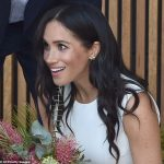 The Duchess of Sussex sported a pair of earrings pictured that belonged to Princess Diana as she joined husband Prince Harry on the first day of their Australian royal tour on Tuesday