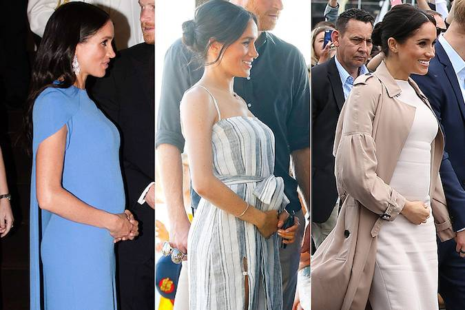 The Duchesss baby bump was clear to see throughout the tour especially when Meghan posed side on Kensington Palace announced the news in mid October Photo C GETTY IMAGES