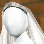 The Duchesss veil was held in place by the Queens tiara on display for the first time pictured which is set with large and small brilliant diamonds in a geometric design