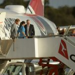 The Duke and Duchess Of Sussex disembark their Qantas plane at Sydney Airport today after a minor drama as it tried to land