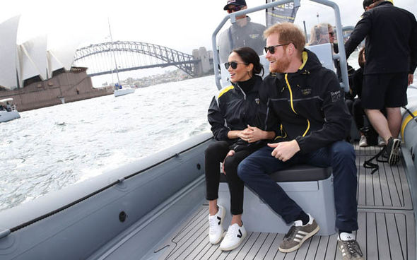 The Duke and Duchess of Sussex took to the water Image twitter getty