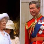 The Queen Mother and Prince Charles on the balcony at Buckingham Palace in 1999 Image GETTY