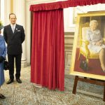 The Queen appeared to be pleased with the stunning portrait Image GETTY