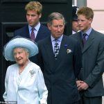 The Queen mother is photographed with grandson Prince Charles and great grandsons Prince William and Prince Harry on her 101st birthday at Clarence House