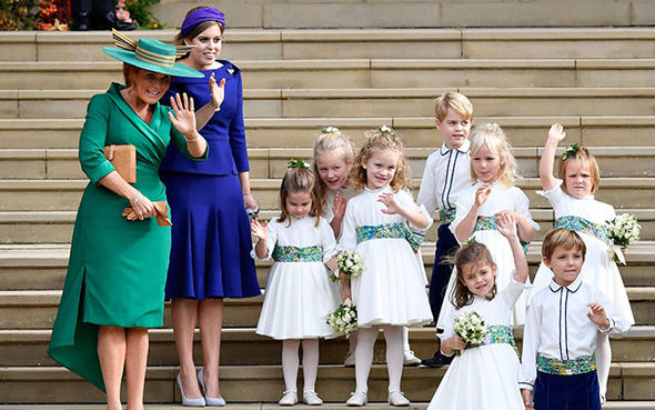 The bridesmaids and page boys with Sarah Ferguson and Princess Beatrice Image AFP Getty Images