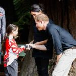 The couple met mountain bikers and bent down to shake hands with one of the local forests youngest bikers Harry described the forest as heaven Photo C GETTY