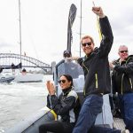 The couple watched a few of the Invictus Games events including a sailing race The couple took to the waters in Sydney Harbour Photo C GETTY