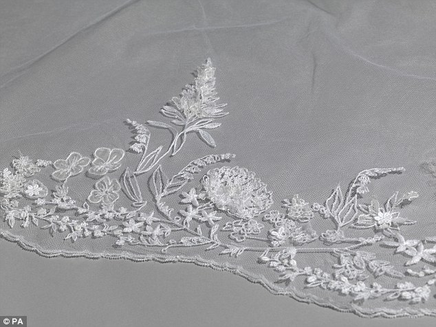 The delicate embroidery pictured could not be properly appreciated on the TV broadcast of the wedding and so this will be a unique opportunity for royal fans