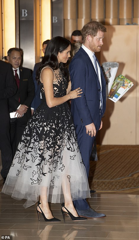 The gala came after the jet carrying Harry and Meghan back to Australia aborted the landing upon approach at Sydney
