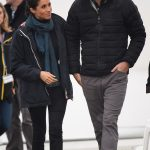 The royal couple swapped into their wet weather gear following their morning engagement which had been blessed with sun