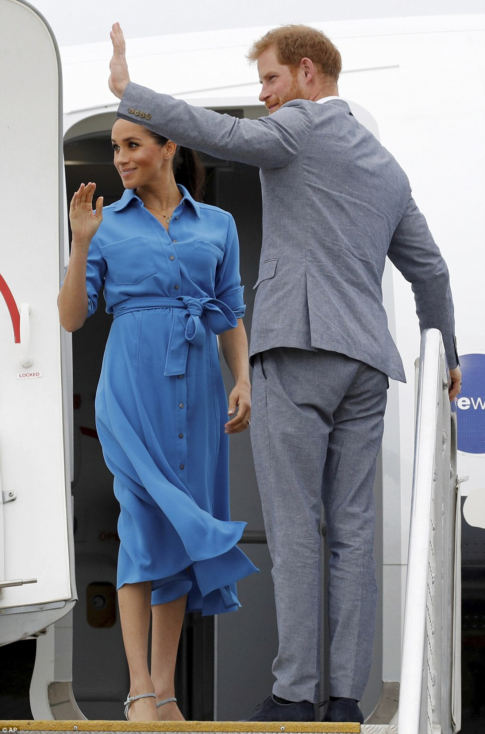 The royal couple waved goodbye to Tonga less than a day after arriving in the Pacific Island nation