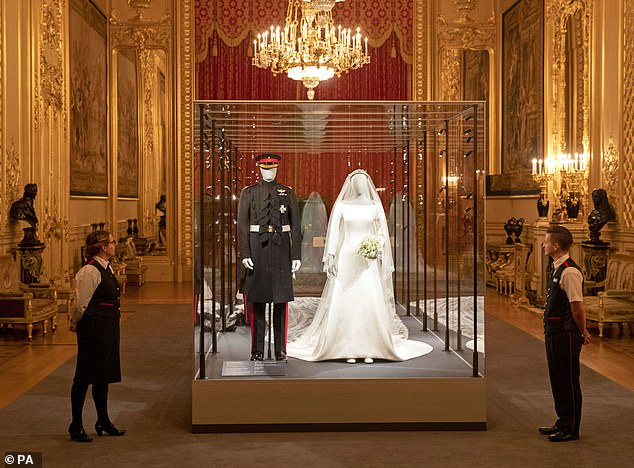 Prince George and Princess Charlottes royal wedding outfits go on display today as part of a new Windsor Castle exhibition celebrating the nuptials of the Duke and Duchess of Sussex