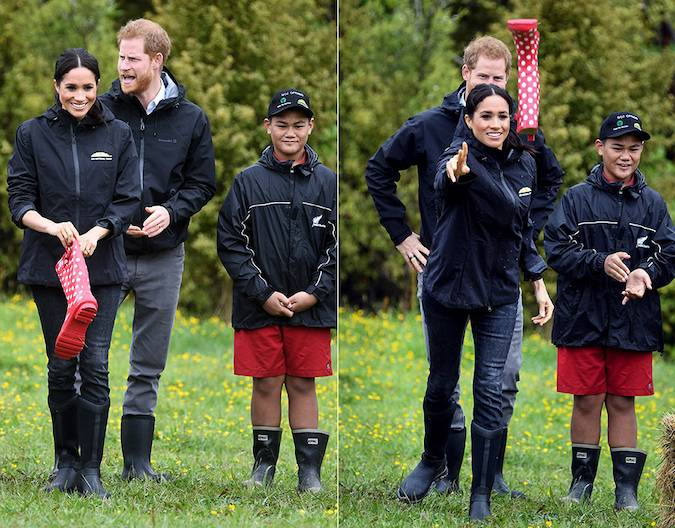 This was definitely a first for Meghan The Duchess joined a group of youngsters in a welly wanging contest in New Zealand Photo C GETTY