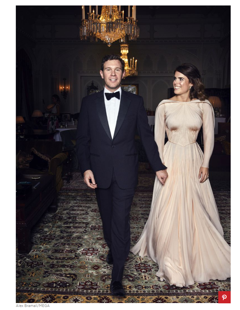 we of course have this stunning official portrait of Eugenie and Jack at their evening reception and you can shop similar Zac Posen styles Photo C GETTY