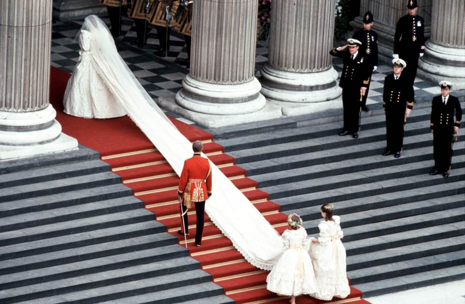 1 A train as far as the eye can see Princess Diana made her grand entrance into St Pauls Cathedral with a frock that didnt do things by halves Image Getty