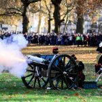Army gunners fire a salute watched by a big crowd in Green Park central London Image AFP PHOTO CROWN COPYRIGHT 2018 ARMY Sgt RANDALL RLC