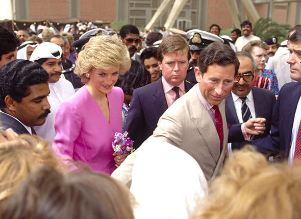 Charles and Diana with her bodyguard Ken Wharfe c Image Getty