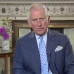 Charles proudly displayed an adorable photo of George Charlotte and Louis Image TWITTER @clarencehouse