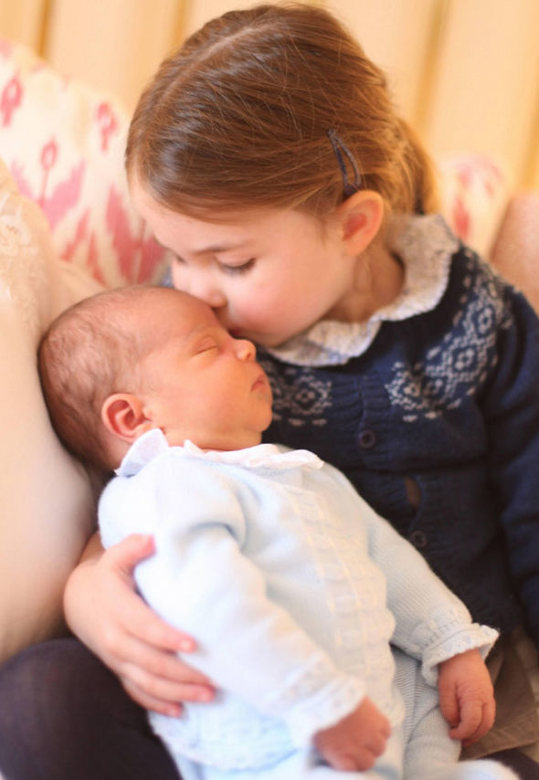 Charless grandchildren Princess Charlotte gives baby brother Prince Louis a kiss Image Duchess of Cambridge PA