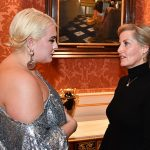 Felicity who has been a prominent voice in the body positivity movement stunned in a floor length silver sequin gown as she chatted with the wife of Prince Edward