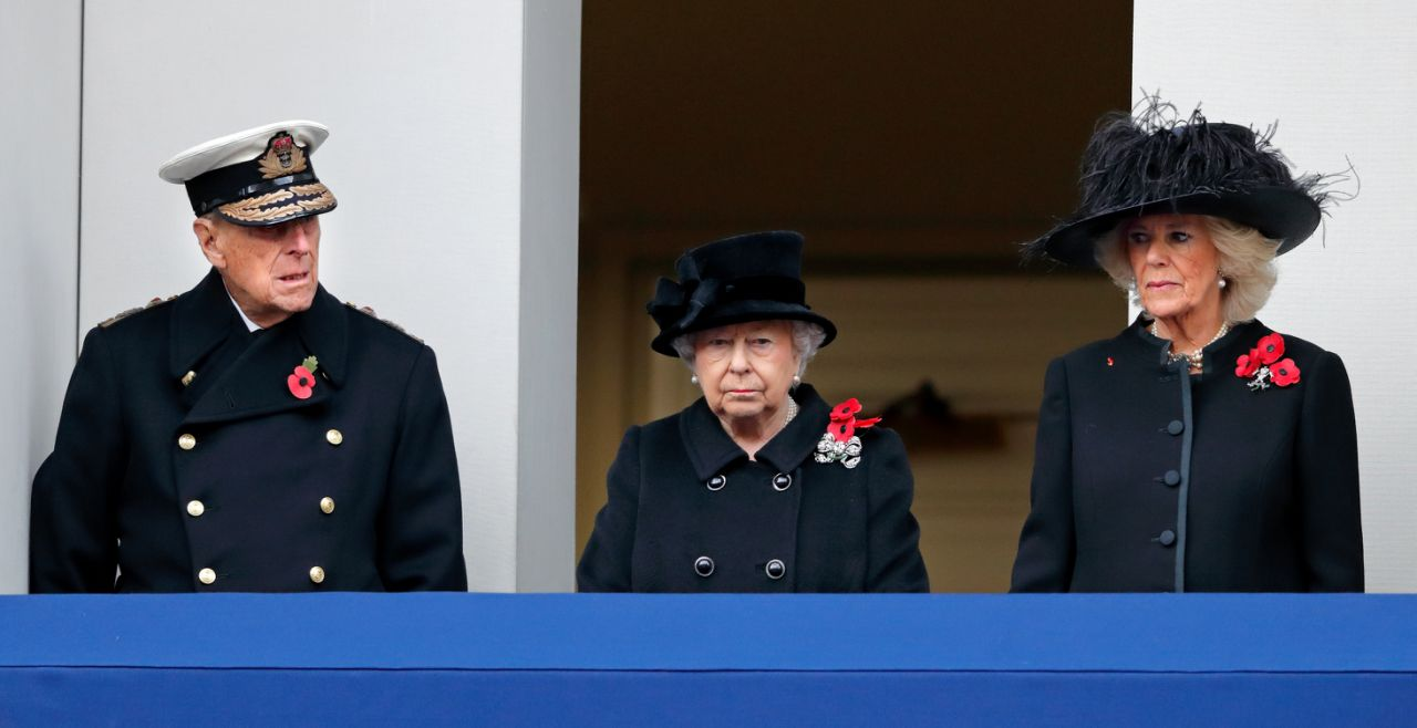 Her Majesty watched on from the balcony Source Getty