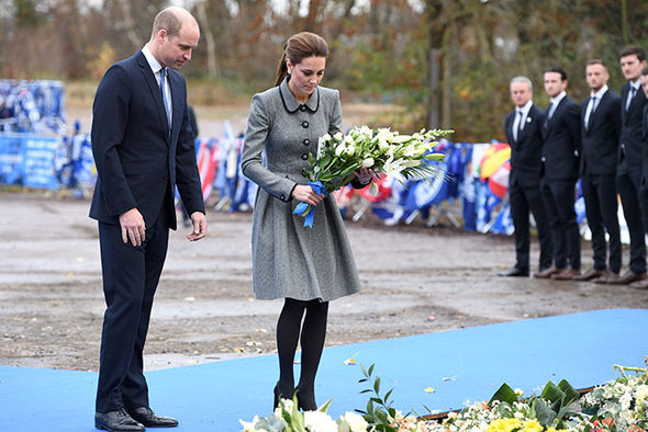 Kate Middleton and Prince William lay a wreath after the Leicester FC helicopter tragedy Image GETTY