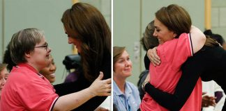 Kate embraces a royal fan at the Basildon Sporting Centre in Essex Image GETTY