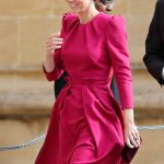 Kate stunned in a bright pink number for Jack and Eugenies wedding in October Image GETTY
