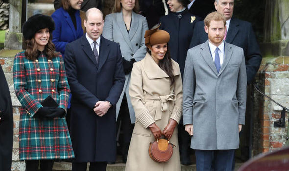 Meghan Markle Prince Harry Kate and Prince William at Sandringham for Christmas last year Image GETTY