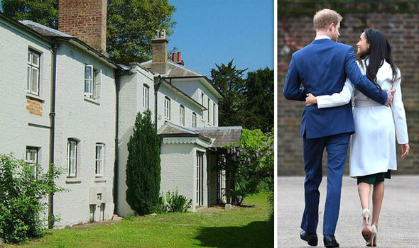 Meghan Markle and Prince Harry Frogmore Cottage has been used s staff accommodation until now Image Twitter @byEmilyAndrews Getty
